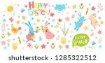 happy easter vector set. cute...   Shutterstock .eps vector #1285322512