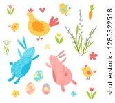 happy easter vector set. cute...   Shutterstock .eps vector #1285322518