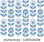 scandinavian folk style flowers ...   Shutterstock .eps vector #1285328308