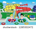 Two Kids At The Aquapark Are...