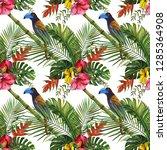 watercolor tropical wildlife... | Shutterstock . vector #1285364908