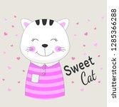 beautiful sweet cat girl dreams ... | Shutterstock .eps vector #1285366288
