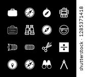 16 adventure icons with lens... | Shutterstock .eps vector #1285371418