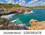 beautiful bay beach turquoise... | Shutterstock . vector #1285381678