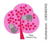 cute vector sloths in valentine ... | Shutterstock .eps vector #1285382932