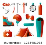 set of tools for backpacking.... | Shutterstock .eps vector #1285401085