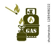 camping stove with gas bottle... | Shutterstock .eps vector #1285408222