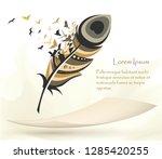 writing pen multicolored... | Shutterstock .eps vector #1285420255