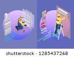home repair isometric template. ... | Shutterstock .eps vector #1285437268