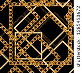 seamless pattern with golden... | Shutterstock .eps vector #1285453672