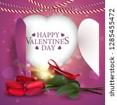 valentine's day greeting red... | Shutterstock .eps vector #1285455472