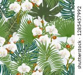 seamless pattern with orchids... | Shutterstock .eps vector #1285457992