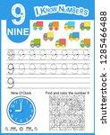 Write Numbers Nine. Kids Learn...