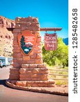 Zion National Park entrance monument sign on a beautiful sunny day with blue sky in summer, Utah, USA