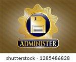 golden badge with diskette... | Shutterstock .eps vector #1285486828