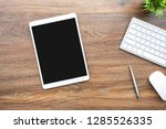 white tablet with black blank... | Shutterstock . vector #1285526335