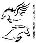 Stock photo raster black and white outlines of jumping horse and pegasus vector version is available in my 128553425