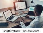 analyzing sales pitch. top view ... | Shutterstock . vector #1285539025