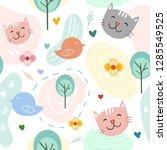 cute cat and bird cartoon... | Shutterstock .eps vector #1285549525