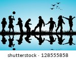 silhouettes of children playing ... | Shutterstock . vector #128555858