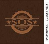 sos retro style wood emblem | Shutterstock .eps vector #1285567015