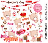 a vector set of cute bear... | Shutterstock .eps vector #1285576612