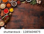 set of various spices and herbs ... | Shutterstock . vector #1285604875