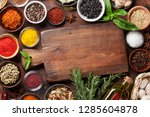 set of various spices and herbs ... | Shutterstock . vector #1285604878