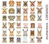 big carrtoon animals icon set | Shutterstock .eps vector #128560652