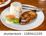 filipino food   steak tuna with ... | Shutterstock . vector #1285611235