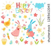 happy easter vector set. cute...   Shutterstock .eps vector #1285612045