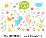 happy easter vector set. cute...   Shutterstock .eps vector #1285612048