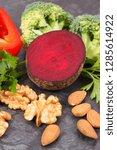 natural healthy vegetables good ... | Shutterstock . vector #1285614922