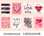 collection of pink  black ... | Shutterstock .eps vector #1285626448