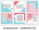 set of editable social media... | Shutterstock .eps vector #1285632712