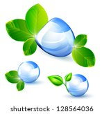 water drops with green leaves.... | Shutterstock .eps vector #128564036