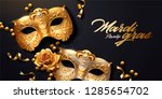 mardi gras banner with golden... | Shutterstock .eps vector #1285654702