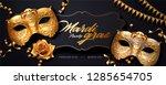mardi gras banner with golden... | Shutterstock .eps vector #1285654705