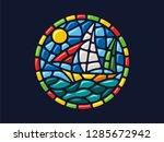 Vector Mosaic. Round Landscape...