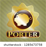 gold emblem or badge with... | Shutterstock .eps vector #1285673758