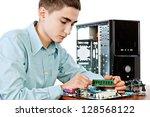 technician repairing computer... | Shutterstock . vector #128568122