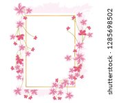flower border with gold thin... | Shutterstock .eps vector #1285698502