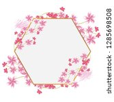 flower border with gold thin... | Shutterstock .eps vector #1285698508