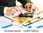 accounting. business woman... | Shutterstock . vector #128570012