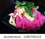 pink fried noodles with sliced... | Shutterstock . vector #1285700122