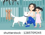 mom and daughter adopt a dog... | Shutterstock .eps vector #1285709245