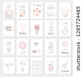 valentine's day card set with... | Shutterstock .eps vector #1285724485