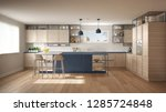 modern white and blue kitchen... | Shutterstock . vector #1285724848