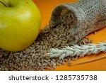 yellow apple  fresh raw wheat... | Shutterstock . vector #1285735738