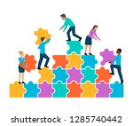 people collect colorful puzzle  ...   Shutterstock .eps vector #1285740442